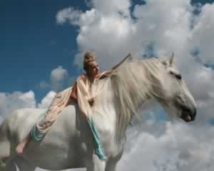 White horse with beautiful woman jigsaw